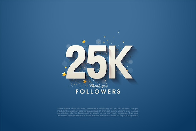 ネイビーブルーの背景に太字で影付きの白い数字が付いた25k人のフォロワー。
