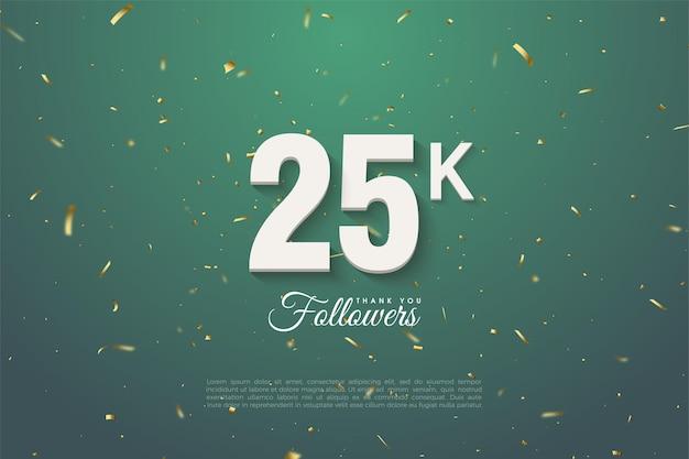 25 тысяч подписчиков с жирными белыми цифрами и золотым пестрым зеленым фоном.