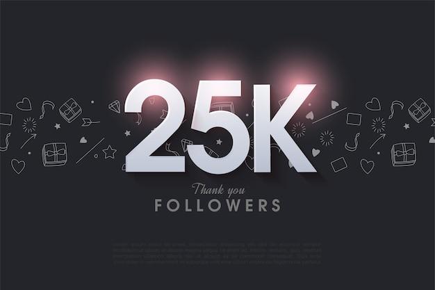 25k последователей с подсвеченными цифрами вверху.