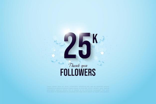 25k последователей с сплошным черным номером на ярко-голубом фоне.