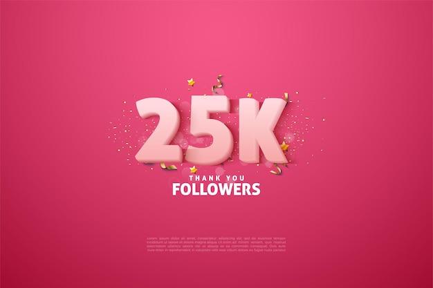 25k подписчиков с прозрачными белыми цифрами на розовом фоне.