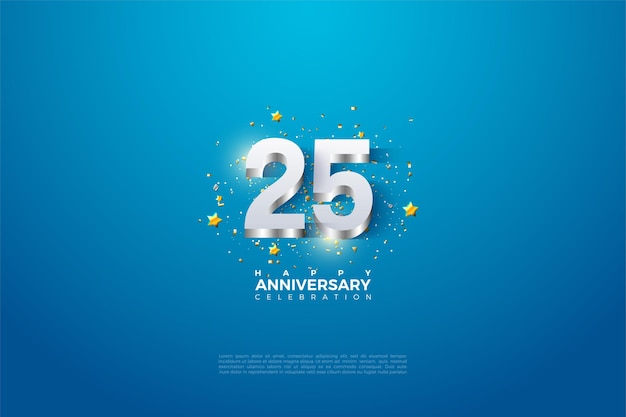 Фон к 25-летию с числами 3dimensi из блестящего серебра.