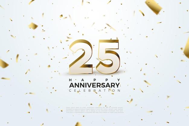 Фон к 25-летию с тиснением в золоте трехмерных фигур.