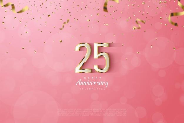Фон 25-летия с 3d цифрами с роскошными золотыми полосами по краям.