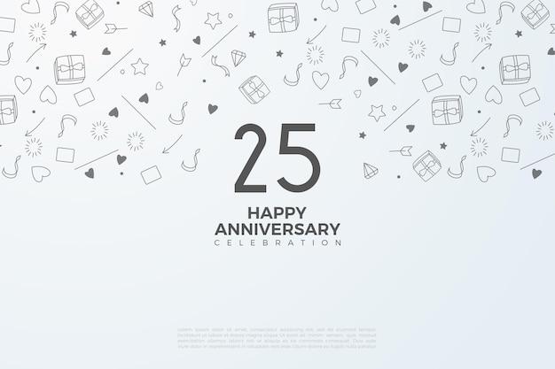 25-летие фон с иллюстрацией числа и половиной небольшого иллюстрированного фона.