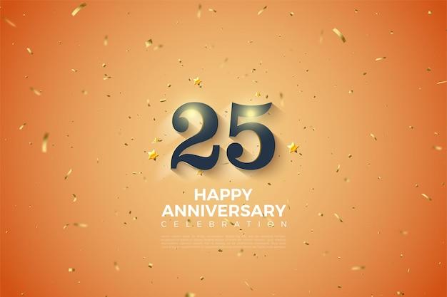 25-летие фон с выцветшими белыми затененными числами.