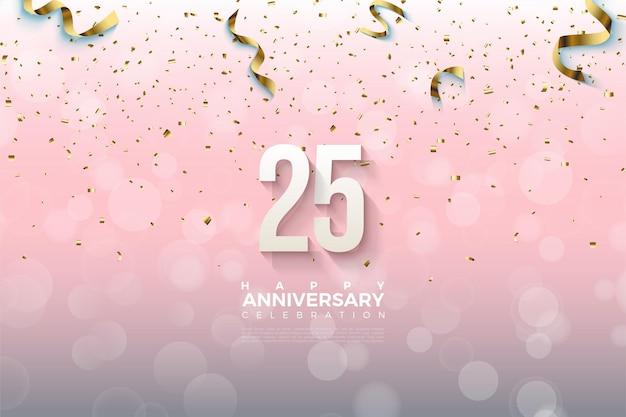 25-летие фон с числами падения и золотой бумагой.