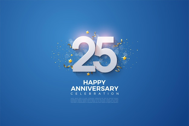 25th anniversary background with a glowing number on it.