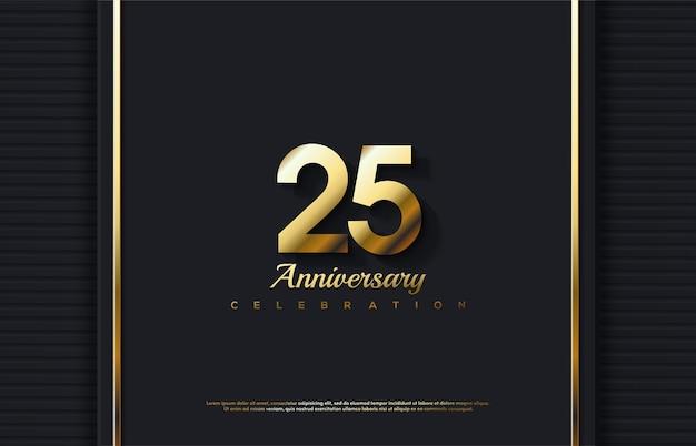 3d 골드 번호로 25 주년 기념 축하. 프리미엄 벡터