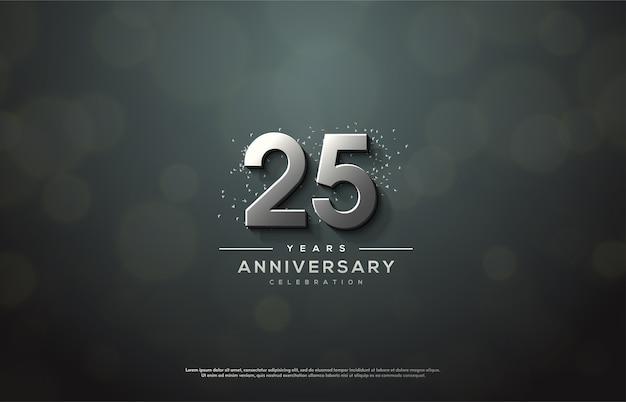 Празднование 25-летия с элегантными 3d серебряными фигурами.