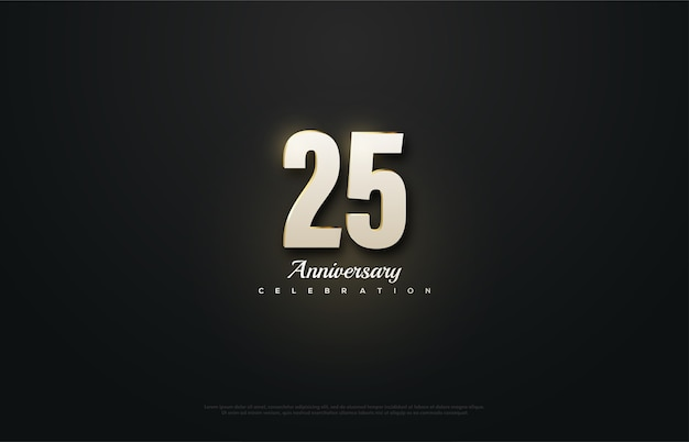 Празднование 25-летия с причудливыми белыми цифрами.