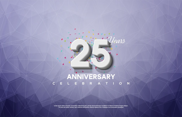 Празднование 25-летия с белыми цифрами на хрустальном фоне.