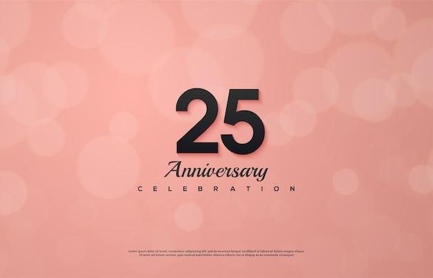 Празднование 25-летия с черными цифрами на розовом фоне.
