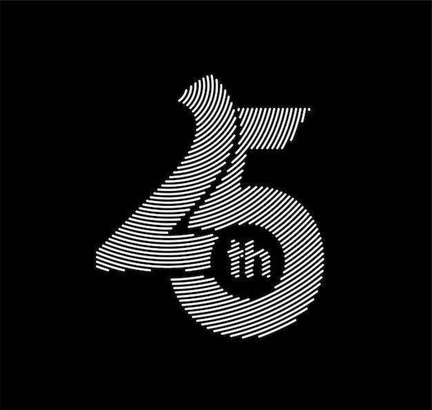 25周年記念のお祝いのデザイン。ベクトルイラスト。
