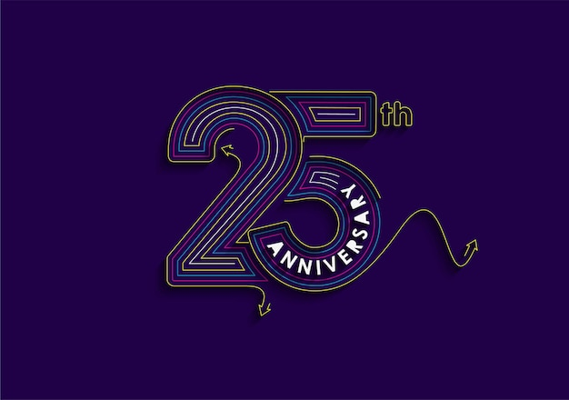 25th years anniversary celebration typography vector design.