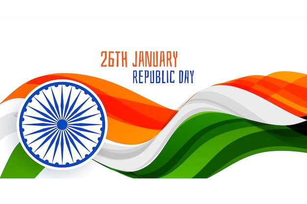 26 1月共和国記念日波状旗バナーのコンセプト