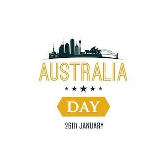 26 january happy australia day banner with text and sydney city landscape
