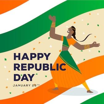 26 января индийский национальный день и женщина танцует