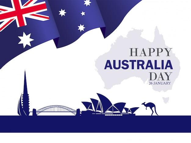 Счастливый день австралии 26 января праздничный фон