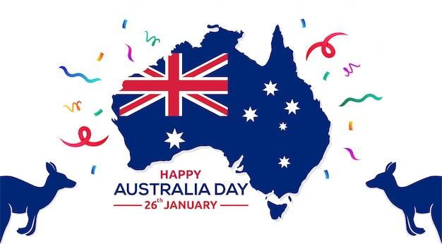 Счастливый день австралии 26 января карта австралии векторная иллюстрация