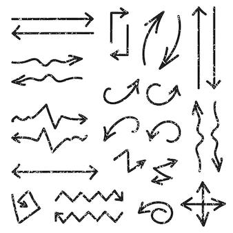 Вектор черный набор из 26 рисованной стрелок