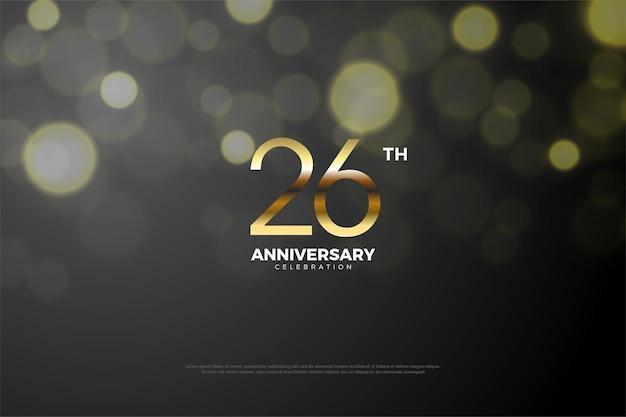 금색 숫자와 보케 효과가 있는 26주년 기념 배경