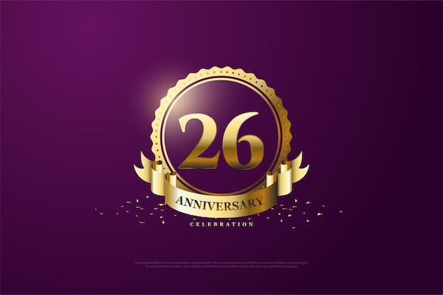 금 숫자와 기호가 있는 26주년 기념 배경