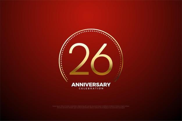 숫자를 둘러싼 금색 줄무늬와 점이 있는 26주년 기념 배경