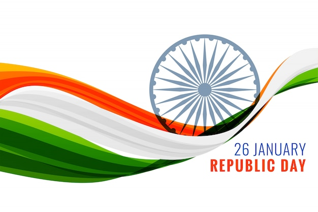 26th january happy republic day banner with indian flag
