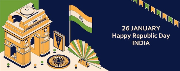 26th of january india republic day. greeting card in isometric style with indian gates.