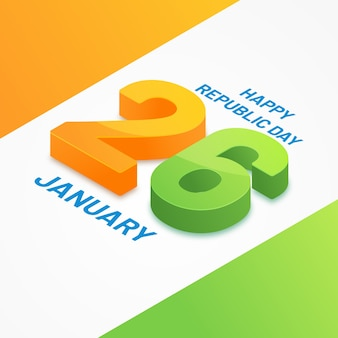 26th january indian republic day flat design
