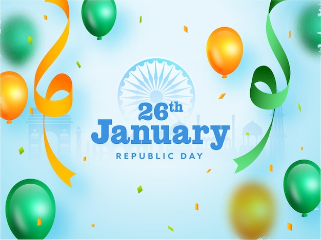 26th january republic day text with glossy balloons and curl ribbon