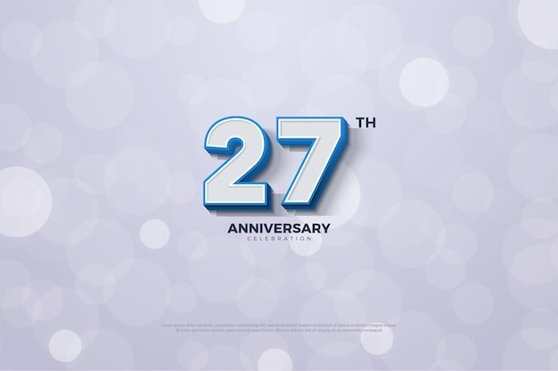 Фон к 27-летию с синими полосатыми цифрами по краям.