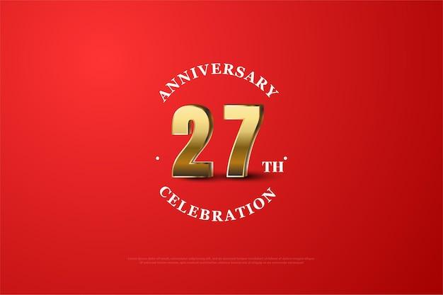 글로 둘러싸인 금색 숫자로 27 주년 기념 백 라운드.