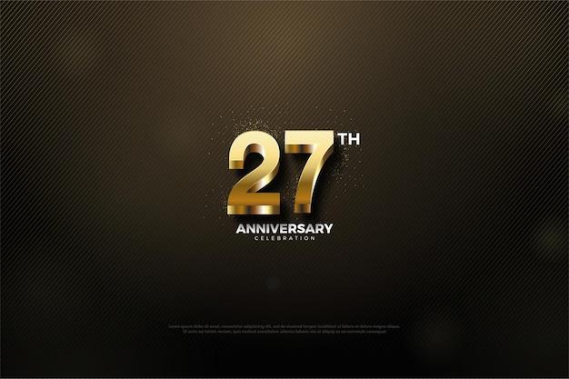 반짝이는 골드 번호가있는 27 주년 기념 백 라운드.
