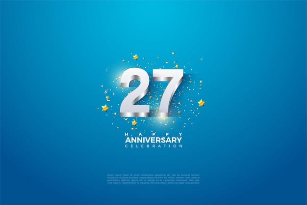 シルバーでエンボス加工された3dナンバーの27周年。