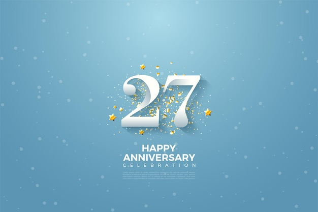 푸른 하늘에 숫자 일러스트와 함께 27 주년.