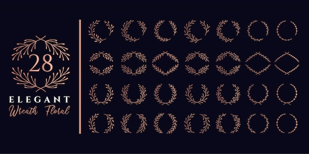 Набор из 28 элегантных венков с цветочным и лавровым цветами для логотипа с монограммой