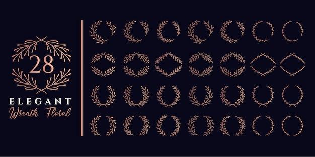 モノグラムのロゴに適した28のエレガントな花輪フローラルと月桂樹フローラルセット