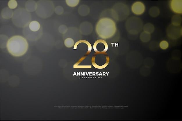 Фон к 28-летию с тенью посередине чисел