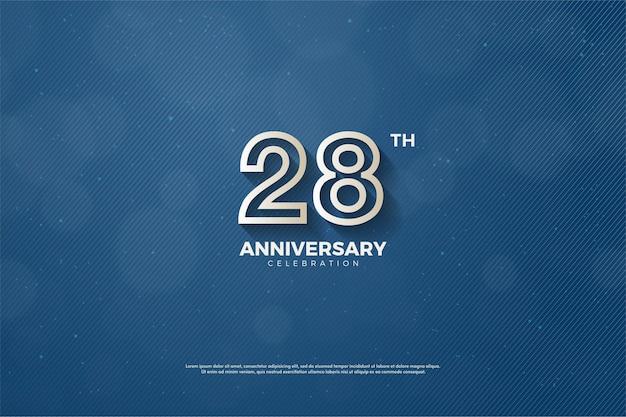 28-я годовщина фон с коричневыми числовыми контурами