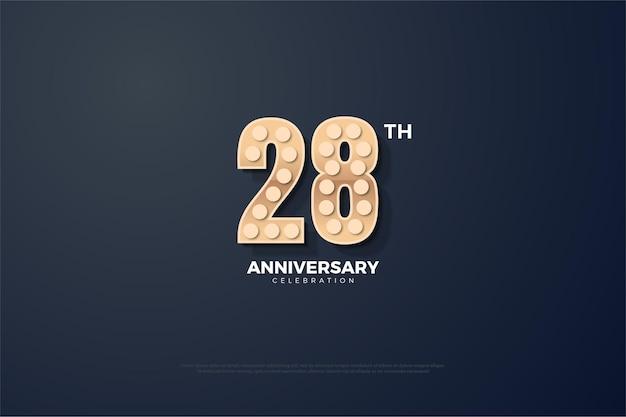 28-я годовщина фон с текстурированными цифрами