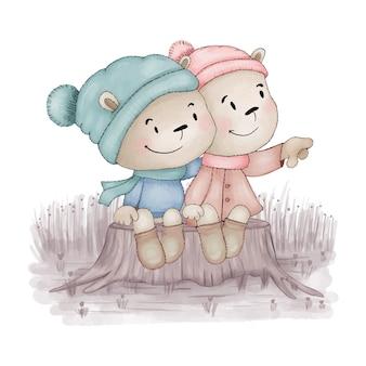 2つのテディベアはお互いを抱きしめます