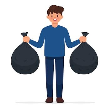 男は2つのゴミ袋を運ぶ