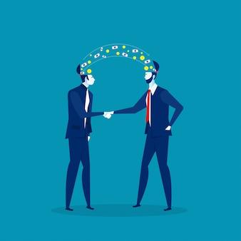 投資利益と握手する2人のビジネスマンビジネスアイデアの概念。図