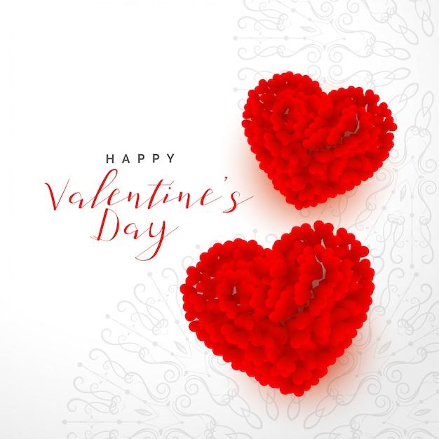 バレンタインデー2つの赤いバラの心と美しい背景