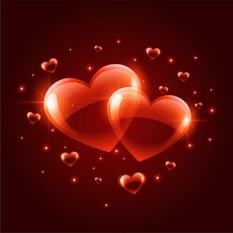 2つの光沢のあるバレンタインデーの心の背景