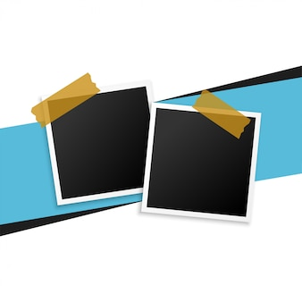 テープの背景を持つ2つのフォトフレーム