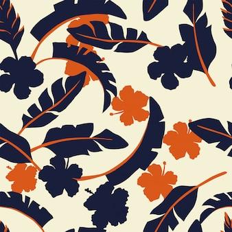 熱帯の葉と2色の花ベージュのシームレスなパターンの壁紙