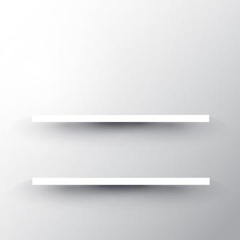 白い壁の背景上の2つの棚